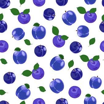 Plum fruits seamless pattern