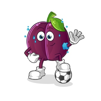 Plum playing soccer illustration. character