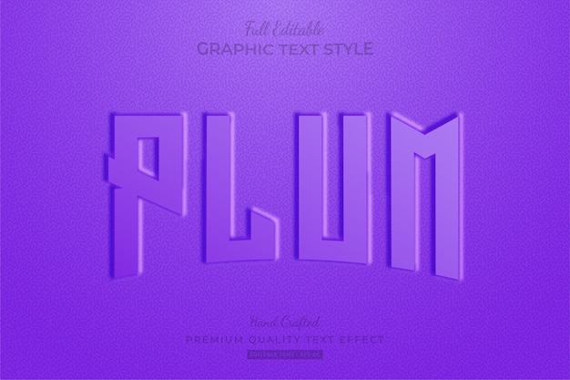 Plum purple embossed editable text effect font style