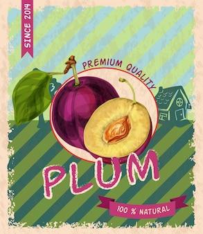Plum retro poster