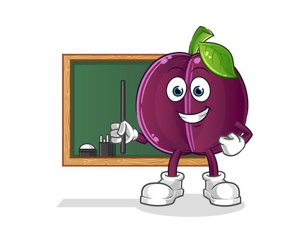 Plum teacher . cartoon character