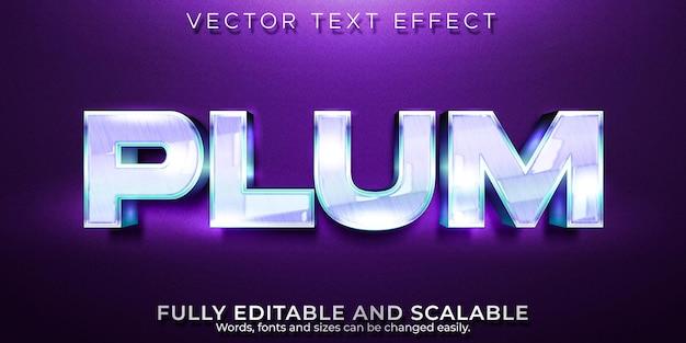 Текстовый эффект сливы Premium векторы