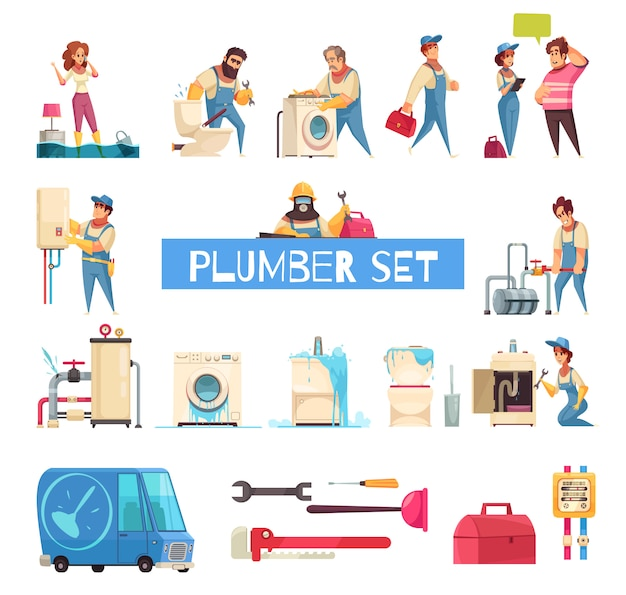 Plumber big cartoon set with burst pipes repair flooded home fixing sanitary washing machine installation
