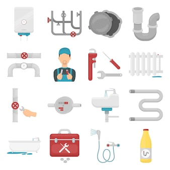 Plumber cartoon vector icon set. vector illustration of plumbing pipe.