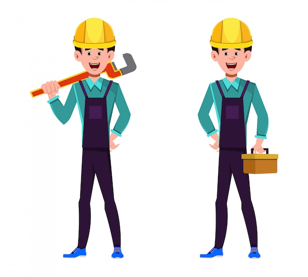 Plumber character holding wrench and tools box in hands