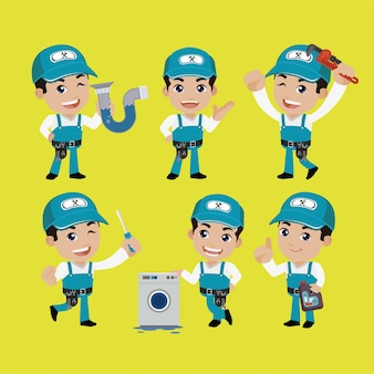 Plumber character with different poses