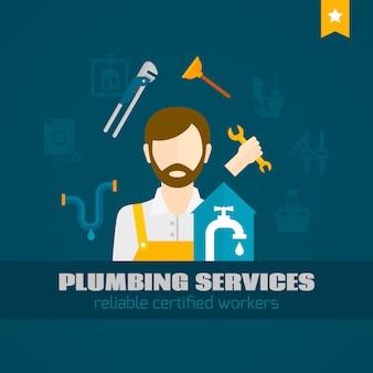 Plumber flat icon