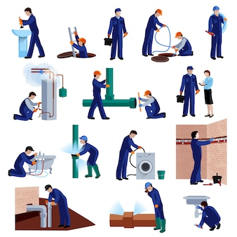 Set di icone piane idraulico