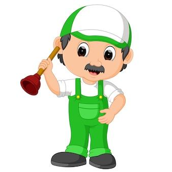 A plumber handyman cartoon character holding a plunger