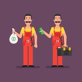 배관공은 가방 돈을 보유하고 번들 돈을 보유하고 웃고 있습니다. 벡터 일러스트 레이 션.