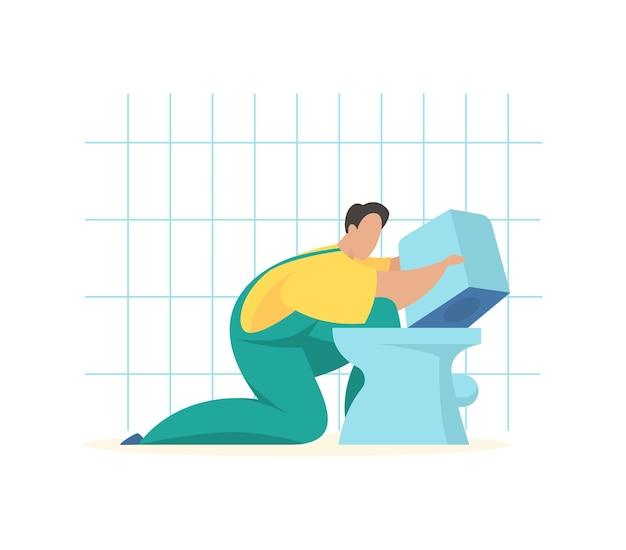 새 변기를 설치하는 배관공 전문 배관 서비스