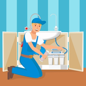 Plumber installing water filter flat illustration