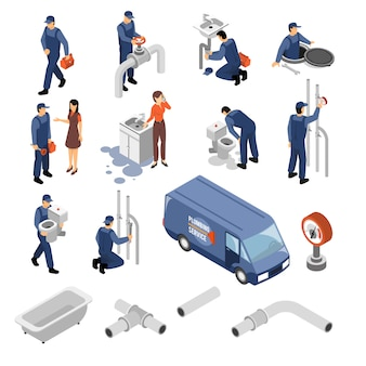 Plumber isometric icons set