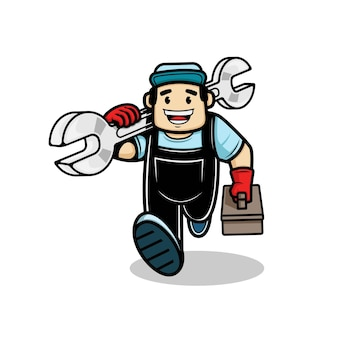 Plumber man running and carries a spanner and a box of equipment in his hand vector illustration