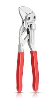 빨간 손잡이와 배관공 마스터 악기 렌치입니다. 흰색 배경에.