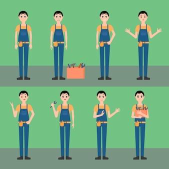 배관공, 정비사, 목수 작업자 벡터 세트 그림, 만화 스타일의 캐릭터, 도구 상자, 유니폼, 다양한 감정을 가진 다양한 포즈