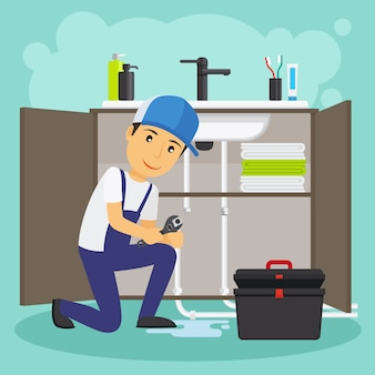Plumber and plumbing service vector illustration