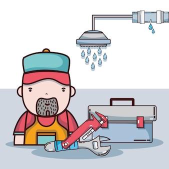機械工具を使った配管修理