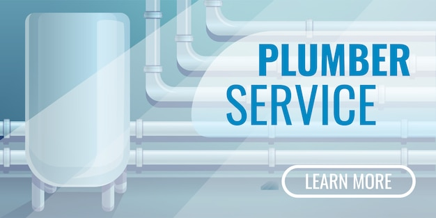 Plumber service  banner, cartoon style