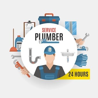 Plumber service concept