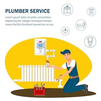 Plumber service flat vector banner template.
