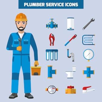 Plumber service icon set