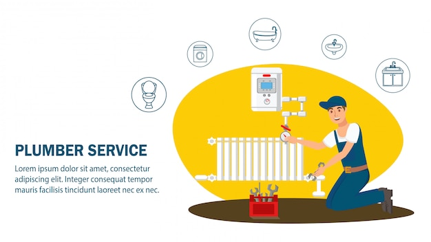 Plumber service website banner vector template.