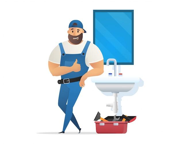 Plumber in uniform leaning sink holding finger up