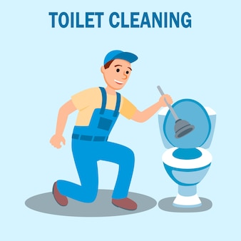 Plumber in uniform with plunger clean toilet bowl