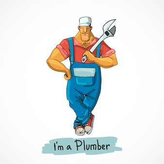 Plumber with monkey wrench