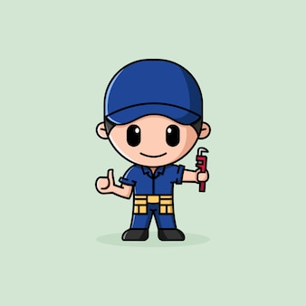 Plumber with thumb up and holding pipe wrench logo character mascot