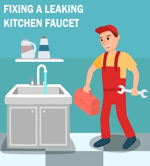 Plumber with toolbox wrench in kitchen interior