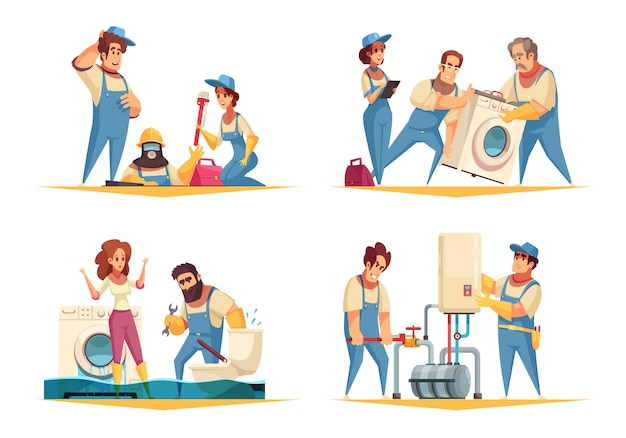 Plumber work concept 4 flat cartoon compositions with flooded home fixing boiler washing machine installation