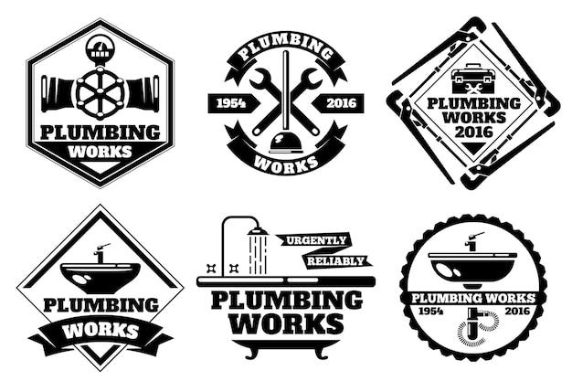 Logo di lavoro idraulico e set di etichette per impianti idraulici di forza. modello di impianti idraulici logo.