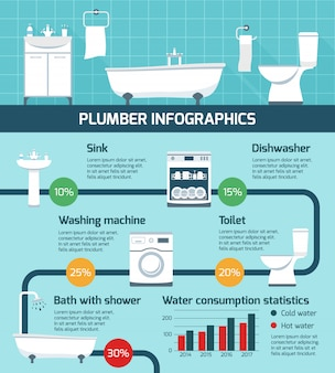 Plumber works infographic poster
