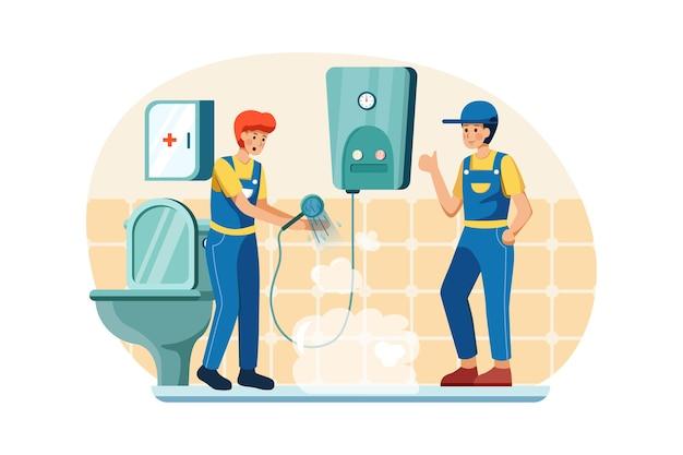 配管工は給湯器がまだうまく機能しているかどうかをチェックしています