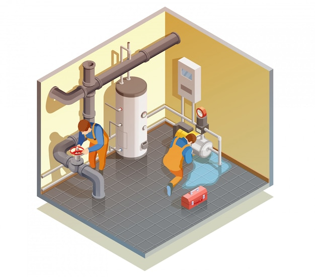 Plumbers boiler leak fixing isometric composition