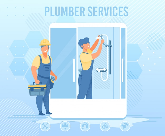 Plumbers service for emergency help flat banner