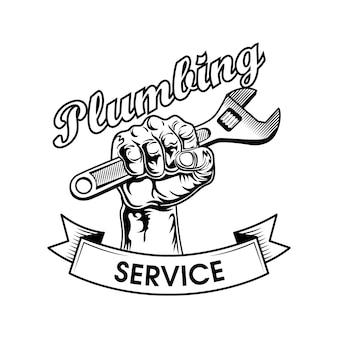 Инструменты сантехников векторные иллюстрации. человеческий кулак сжимающий разводной ключ, силовой жест и служебный текст. сантехника или логотип концепции работы
