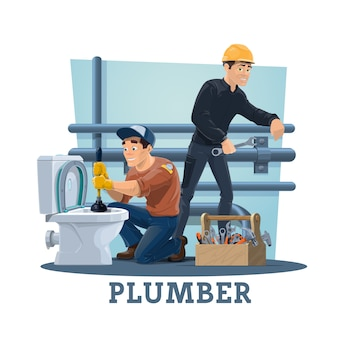 Plumbers with work tools, plumbing service workers