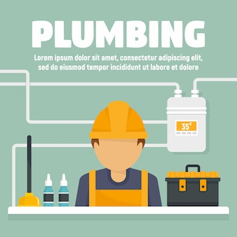 Plumbing concept banner illustration, flat style