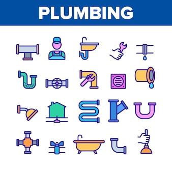 Plumbing elements icons set