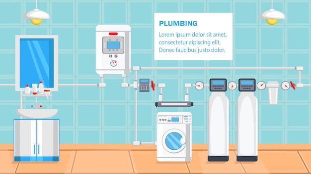 Plumbing flat design vector illustration.
