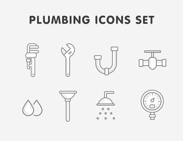 Plumbing flat line icons set