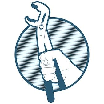 파이프 스패너 렌치와 배관 아이콘 그림 손에 흰색 배경에 고립