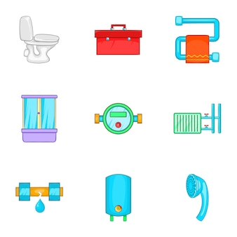 Plumbing icons set, cartoon style