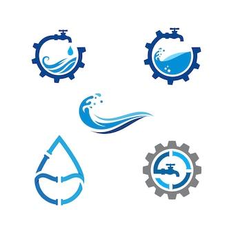 Plumbing logo vector icon design illustration template