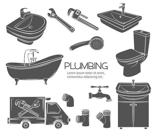 Plumbing monochrome icons. glyph shower, bathroom sink, toilet, sanitary wrench and tap for house plumbing promotion design. stamp, vector illustration.