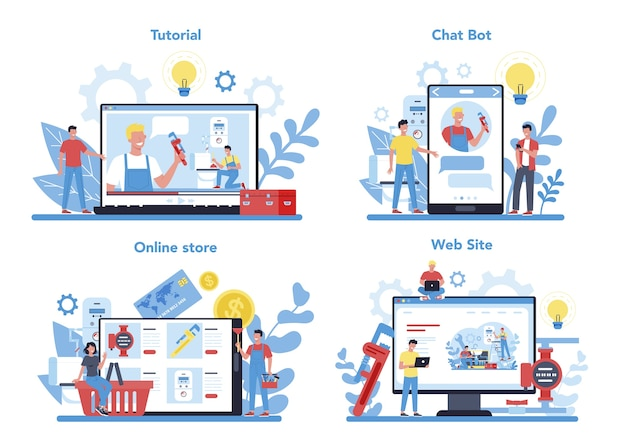 Сантехнические онлайн-сервисы или платформы на различных концепциях устройства. профессиональный ремонт и чистка. онлайн-семинар, консультация или видеоурок.