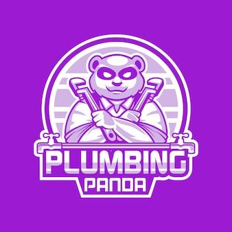 Plumbing panda cartoon mascot logo